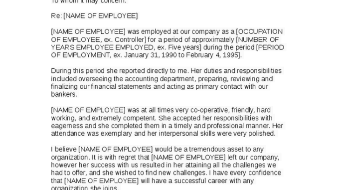 5+ Employment Reference Letters