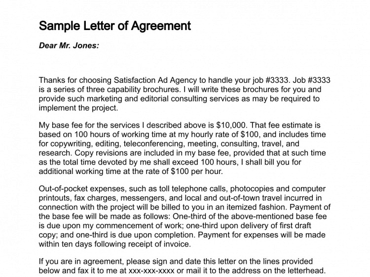 5 sample agreement letters find word letters