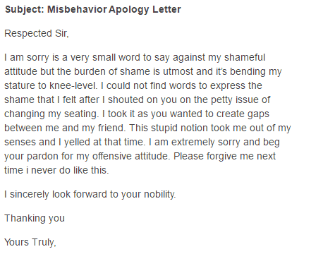 5+ Apology Letters for Misconduct – Find Word Letters