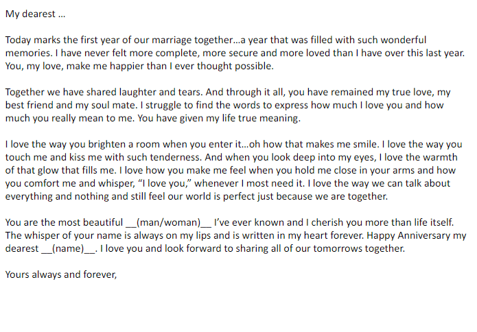 Happy Anniversary Letter To Wife from www.findwordletters.com