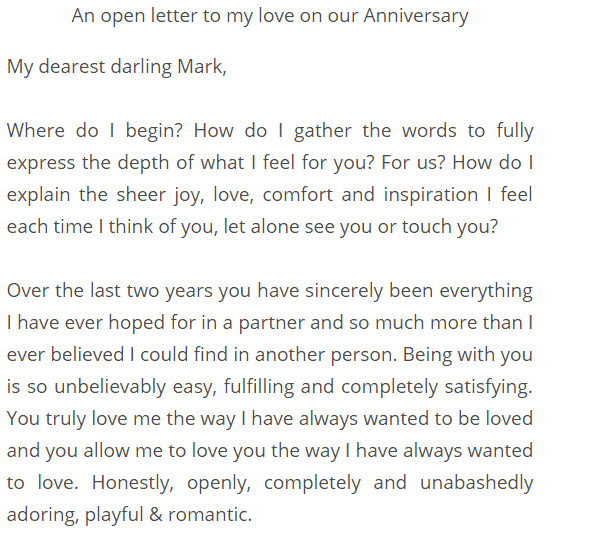5+ First Anniversary Love Letters – Find Word Letters