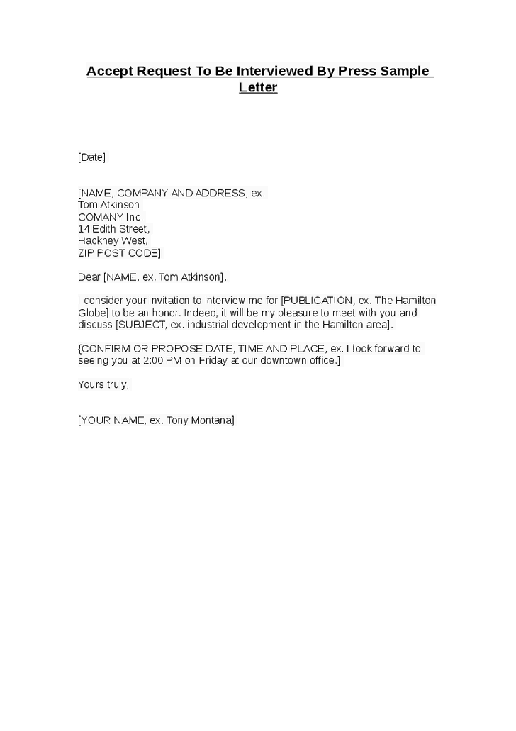 letter for interview appointment