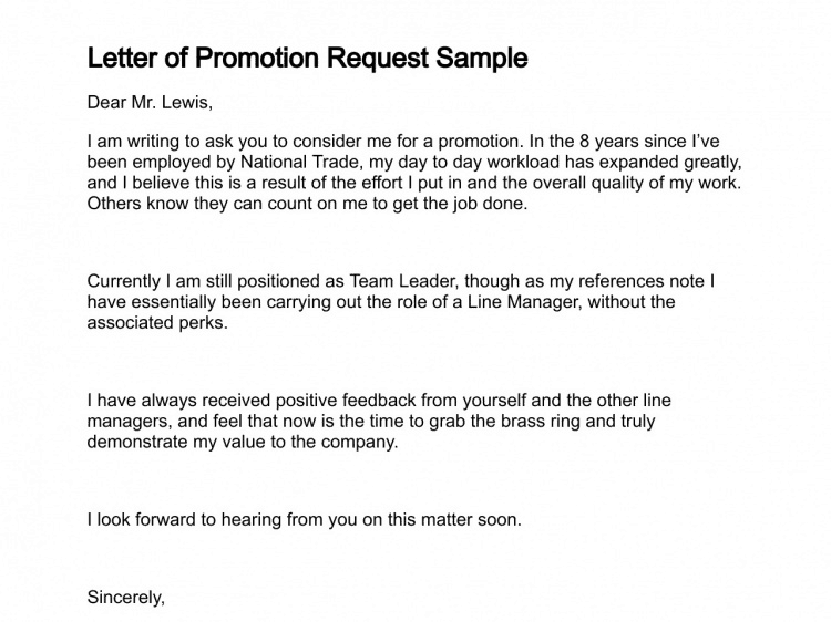 5+ Job Promotion Request Letters – Find Word Letters