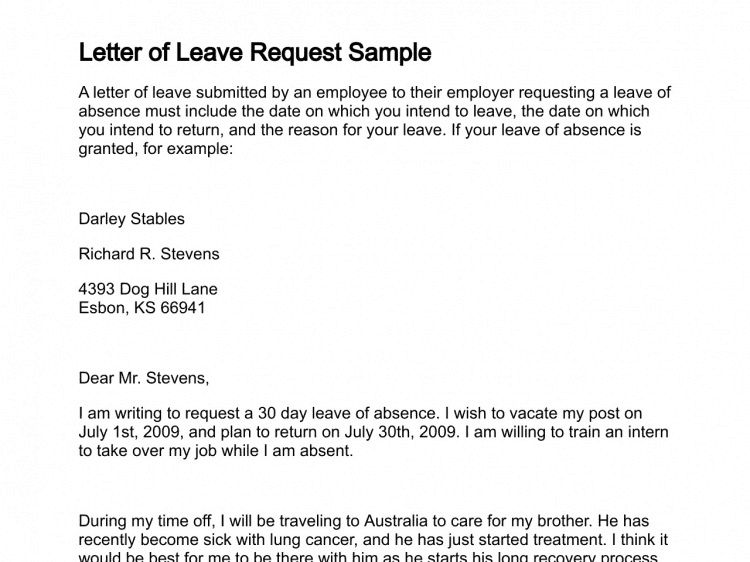 Download Sample Letters For Special >> 10 Leave Application Letters Free Download Find Word Letters