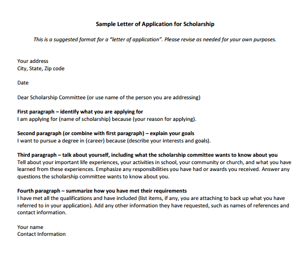 scholarship request letter format