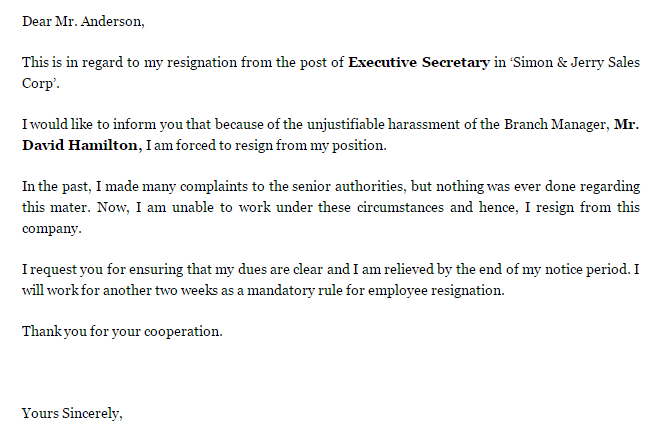 5+ Resignation Letters with Complaint   Find Word Letters
