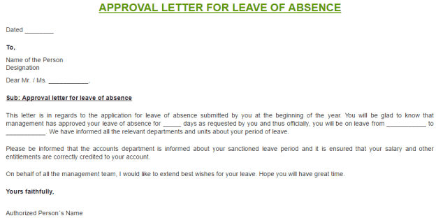 Permission Letter For Leave Of Absence from www.findwordletters.com