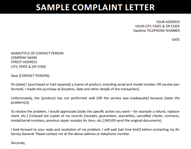 Complaint Letter Example To Company from www.findwordletters.com