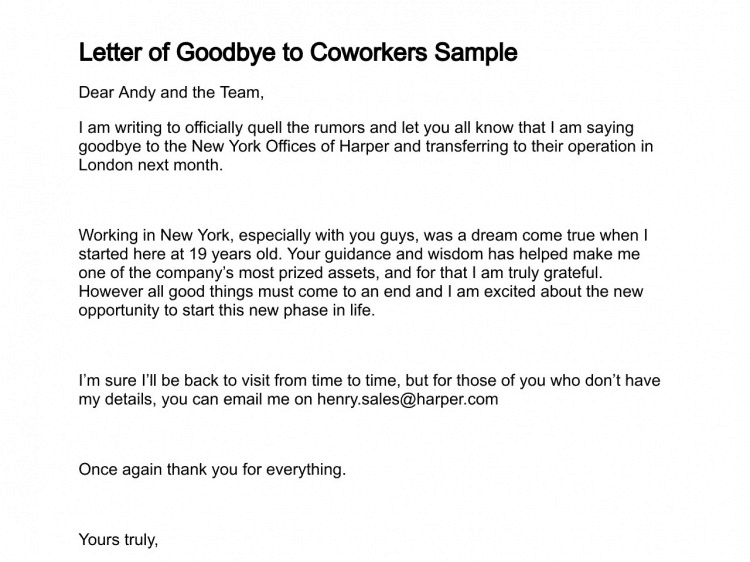 Sample Farewell Letter To Coworkers from www.findwordletters.com