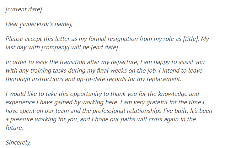 Writing A Formal Resignation Letter from www.findwordletters.com