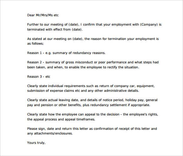 Employee Termination Letter Templates from www.findwordletters.com