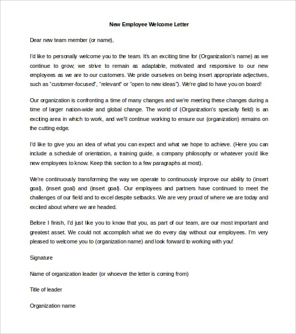 Welcome Letter New Employees from www.findwordletters.com