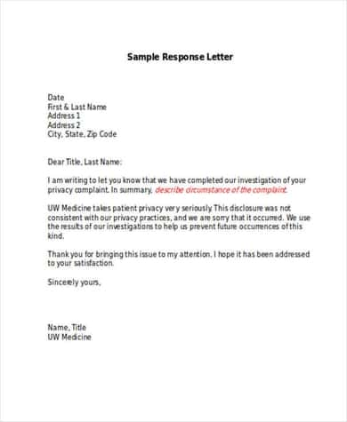 7+ Complaint Response Letters – Find Word Letters