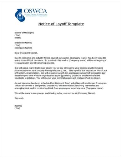 11  sample layoff notice letters  u2013 find word letters