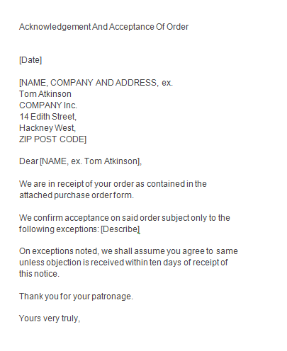 Acknowledgement Letter For Receiving Documents from www.findwordletters.com