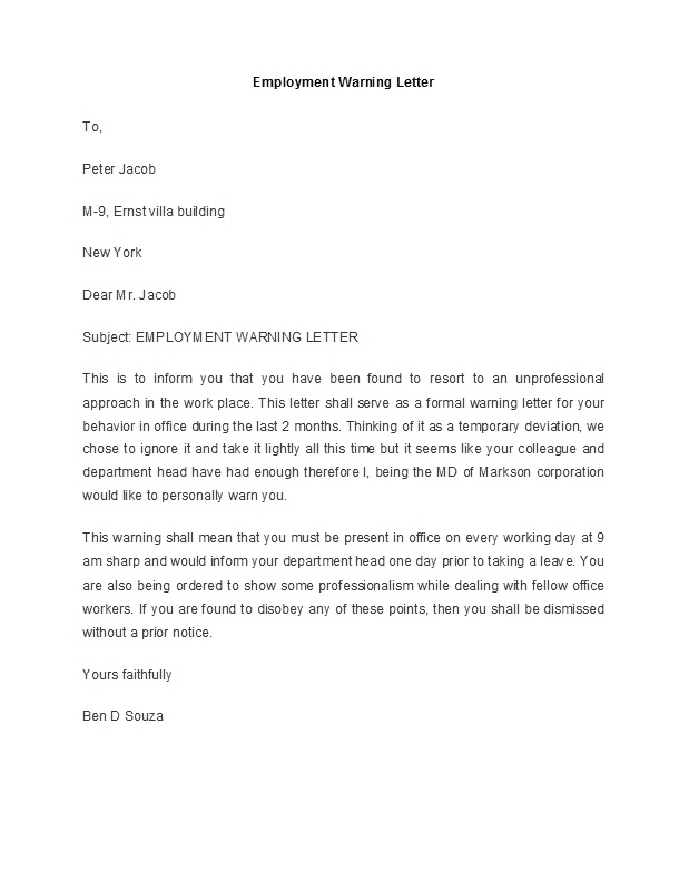 Letter Of Reprimand Sample from www.findwordletters.com
