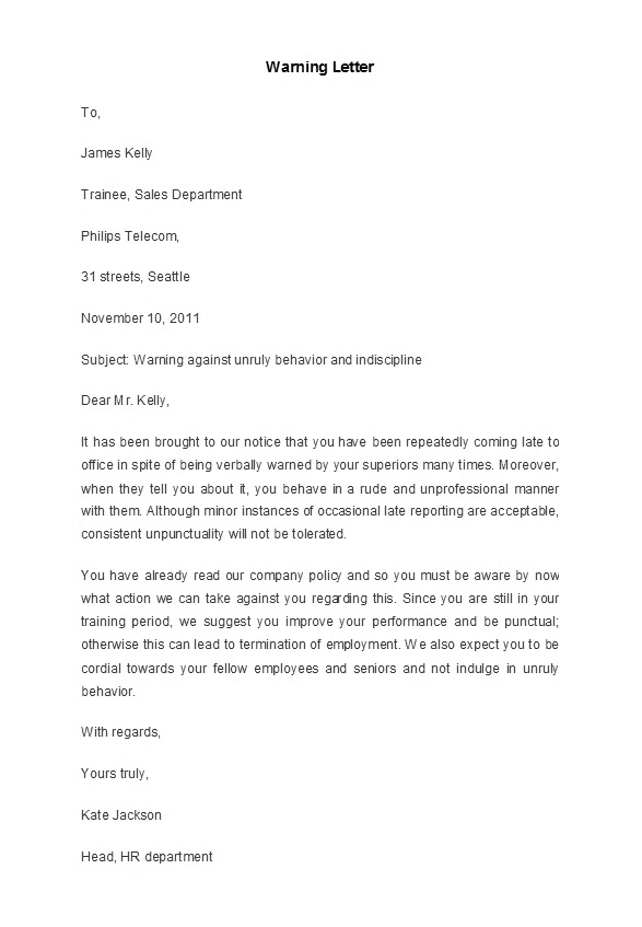 7  sample warning letters to employee for disrespectful