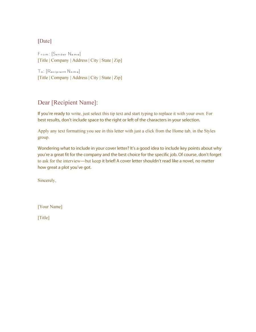 Simple Business Letter Format from www.findwordletters.com