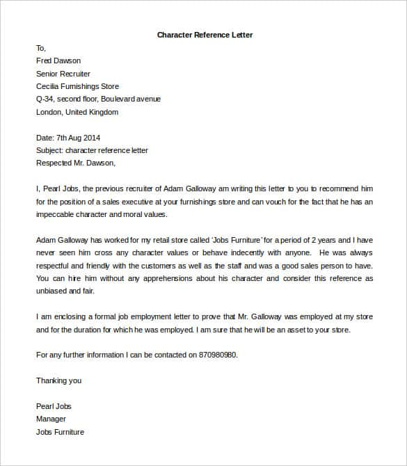 Personal Reference Letter For Job from www.findwordletters.com