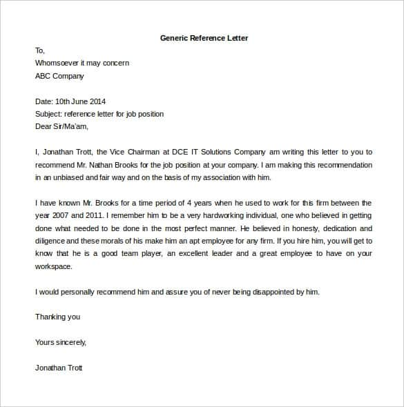 Job Reference Letter Examples from www.findwordletters.com